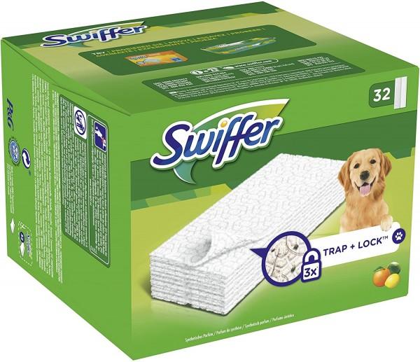 Swiffer Trap+Lock Trockene Bodentücher für Tierbesitzer Nachfüllpackung 32 Stück