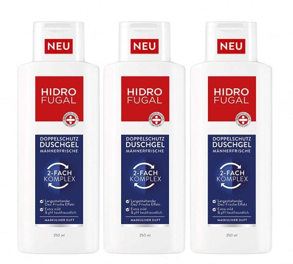 3 x Hidrofugal Männerfrische Duschgel Maskuliner Duft je 250ml