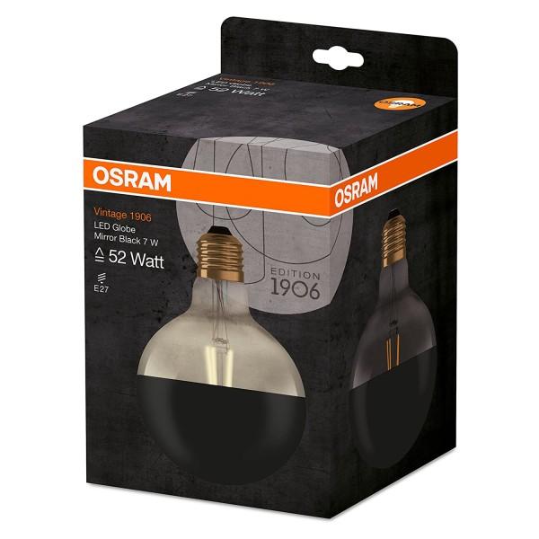 Osram LED Vintage 1906 Glühbirne A+ Warm White 7 W Sockel E27 Mirror Black