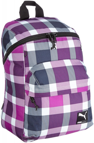 PUMA Rucksack Foundation gray dawn-sparkl grape-check Lila-Karo