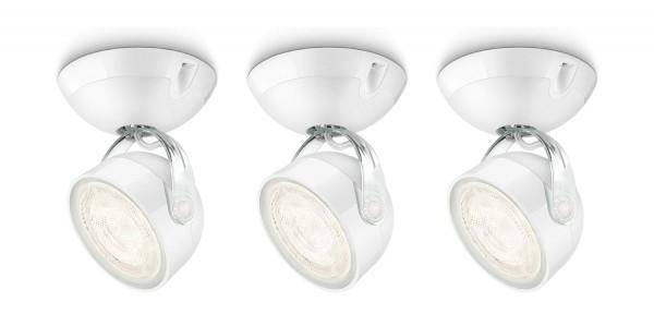 3 x Philips myLiving Dyna LED Spot Leuchte Warm Weiß je 3 Watt Farbe Weiß