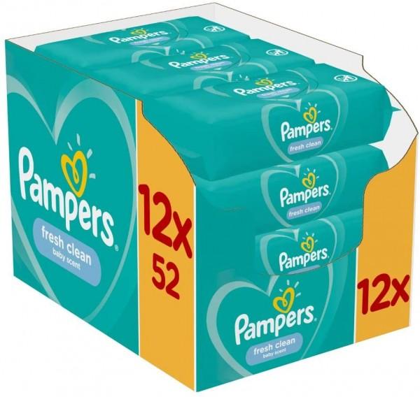 Pampers Fresh Clean Baby-Feuchttücher Ohne Alkohol 12 x 52 Stück