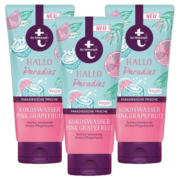 3 x T By Tetesept Duschgel je 200ml Hallo Paradies Kokoswasser & Pink Grapefruit