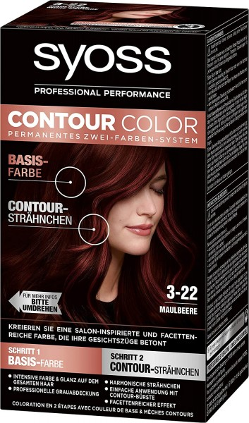 3x Syoss Contour Color 3-22 Maulbeere permanentes Zwei-Farben-System