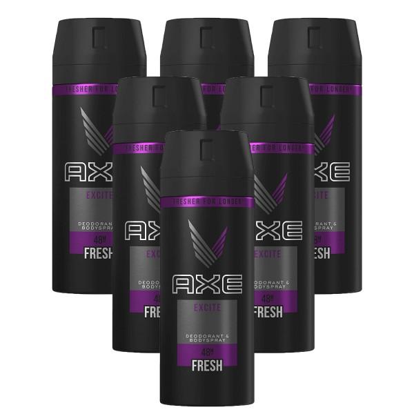 6x Axe Excite Deodorant & Bodyspray All Day Fresh je 150ml for men