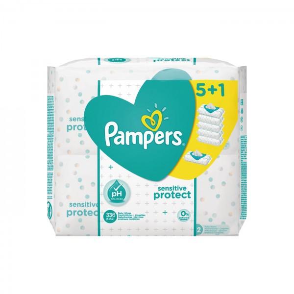 4 x Pampers Sensitive Protect Feuchttücher 1344 Tücher (24 x 56)
