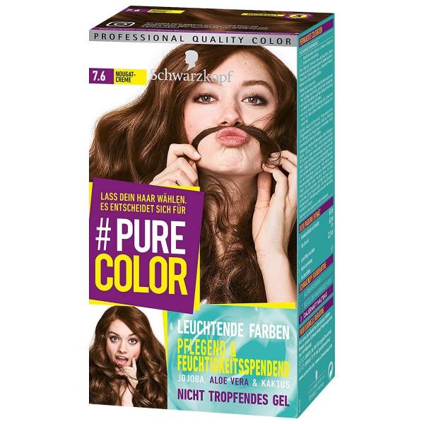 3 x Schwarzkopf Pure Color 7.6 Nougatcreme Gel Coloration Dauerhafte Haarfarbe