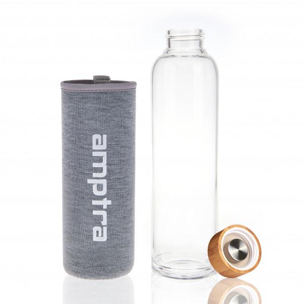2x amptra Trinkflasche Glas grau je 550ml inkl. Neoprenhülle Sporttrinkflasche