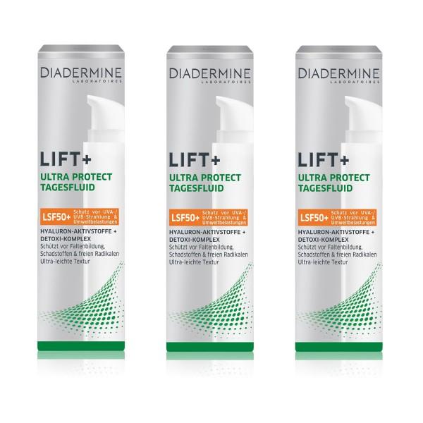 3 x Diadermine Lift+ Ultra Protect Tagesfluid je 40 ml LSF 50+