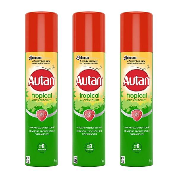 3 x Autan Tropical Mückenschutz Insektenschutz Spray für Körper und Gesicht je 100ml