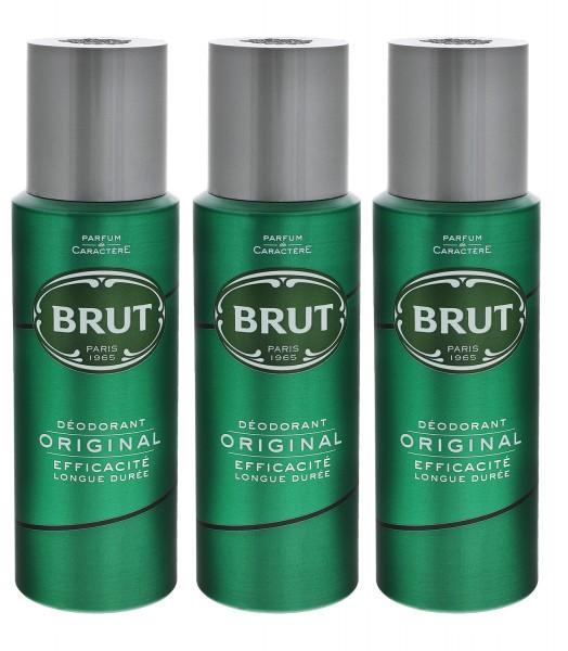 3 x Brut Original Deospray je 200ml pflegt und erfrischt for men