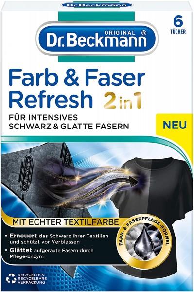 3x Dr.Beckmann Farb und Faser Refresh 2in1 Schwarz je 6 Tücher