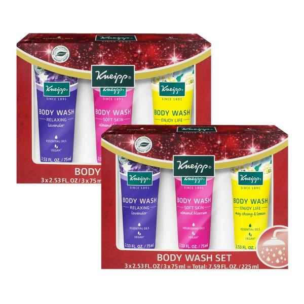 2x Kneipp Duschset Relaxing Lavendel + Almond Blossom Mandelblüte + Mai Chang & Lemon je 3x75ml Vegan