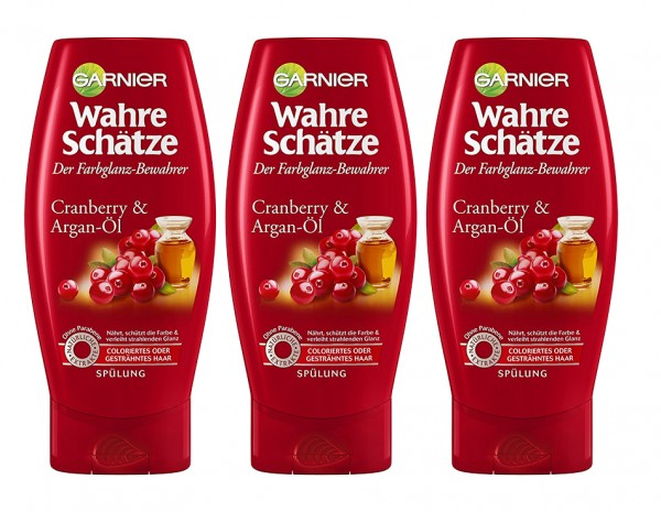 3x Garnier Wahre Schätze Spülung Cranberry&Argan-Öl je 200ml