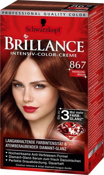 3 x Schwarzkopf Brillance Intensive-Color-Creme 867 Mahagoni-Braun Haarfarbe