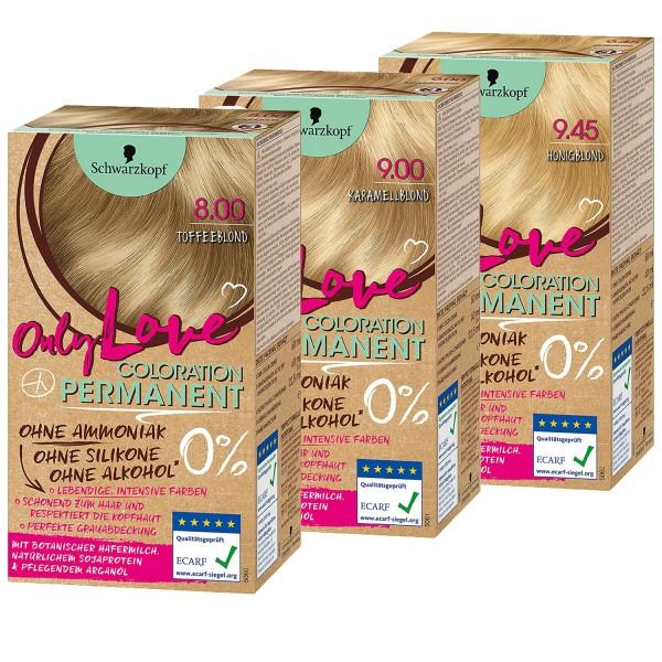 Schwarzkopf ONLY LOVE Coloration Dauerhafte Haarfarbe Schwarzkopf Toffee-, Honig-, oder Karamelblond