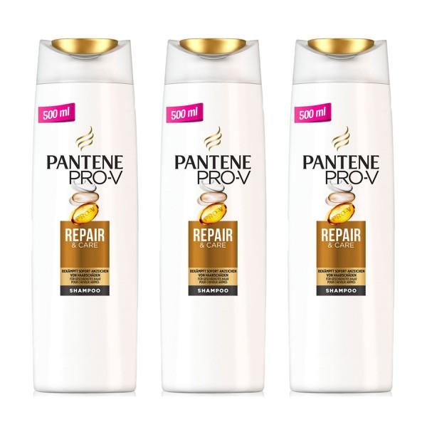 3x Pack Pantene Pro-V Shampoo Repair & Care jeweils 500ml