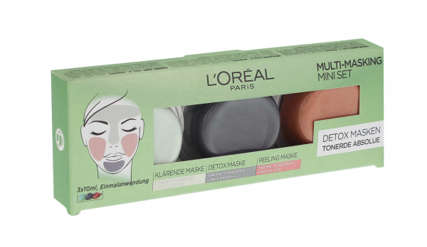 3x L´Oréal Paris Multi-Masking Mini Set Detox Masken Tonerde Abolue je 3x10ml