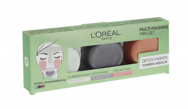 3x L´Oréal Paris Multi-Masking Mini Set Detox Masken Tonerde Abolue je 3x10ml
