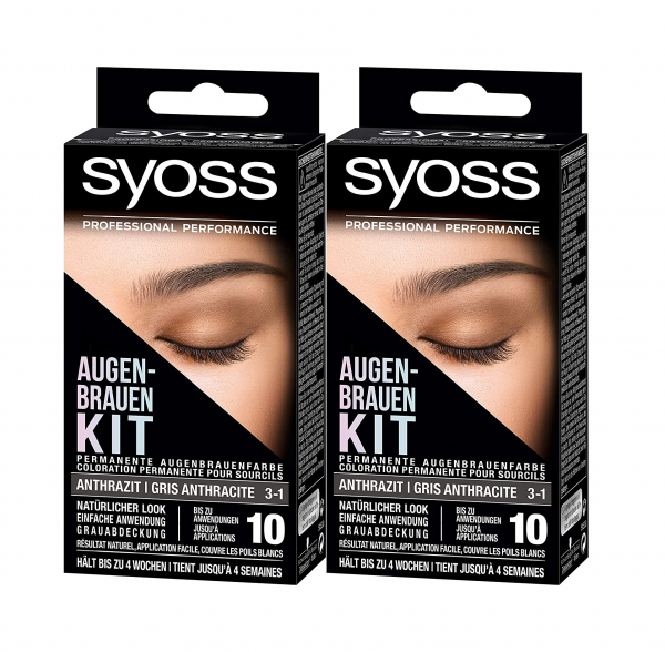 2 x Syoss Augenbrauen Kit 3-1 Anthrazit je 17 ml Augenbrauenfarbe