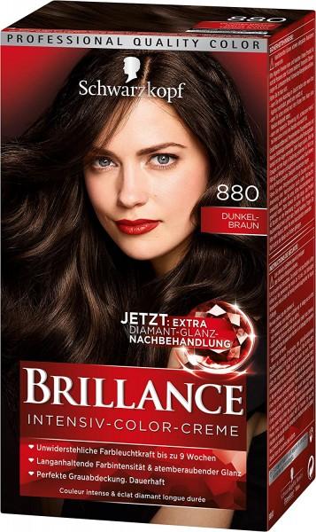 Schwarzkopf Brillance Intensiv-Color-Creme 880 Dunkelbraun 165ml Dauerhafte Haarfarbe
