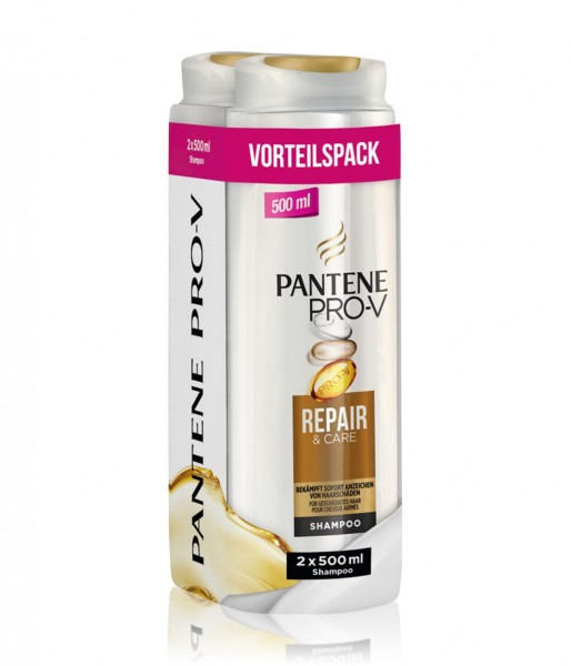 2 x 2er Pack Pantene Pro-V Shampoo Repair & Care jeweils 500ml