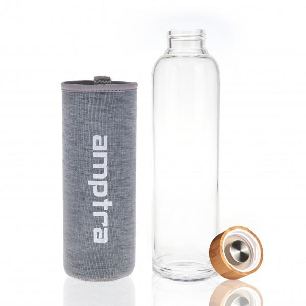 amptra Trinkflaschen Glas Set 2 Stück inkl. Neopren- & Silikonschutzhülle je 550ml