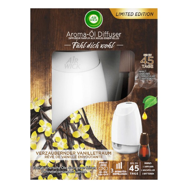 Air Wick Aroma Öl mit Diffuser & Duft Flakon Verzaubernder Vanilletraum 20ml
