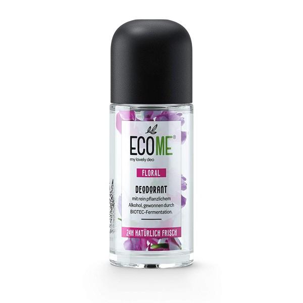 6 x ECOME Deo Roll-On Floral je 50ml 0% Aluminiumsalze für empfindliche Haut
