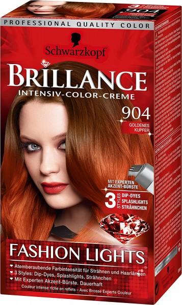 3 x Schwarzkopf Brillance Intensiv-Color-Creme 904 Goldenes Kupfer Fashion Lights