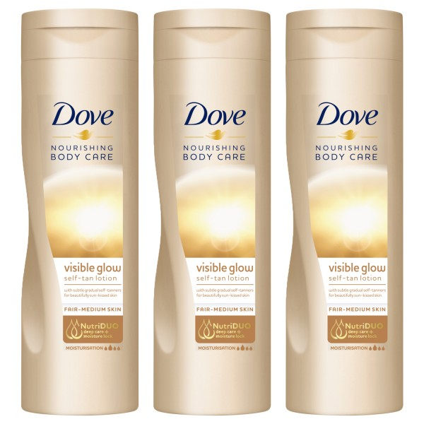 3x Dove Nourishing Body Care Selbstbräunende Lotion je 250ml helle normale Haut