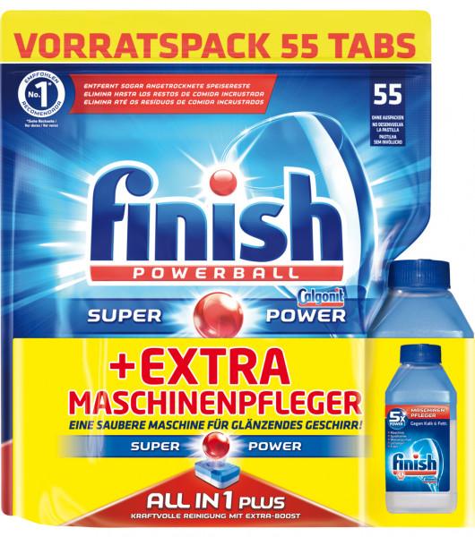 Finish All in 1 Plus Vorratspack 55 Spülmaschinentabs + Maschinenpfleger