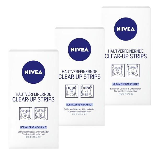 3 x NIVEA Clear-Up Strips Nase Stirn Kinn Normale & Mischhaut jeweils 6 Stück
