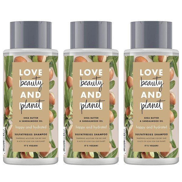 3 x Love beauty & planet Shampoo Sheabutter & Sandalwood Oil silikonfrei je 400ml