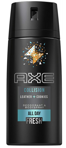 3x Axe Collision Leather + Cookies Deodorant & Bodyspray All Day Fresh je 150ml