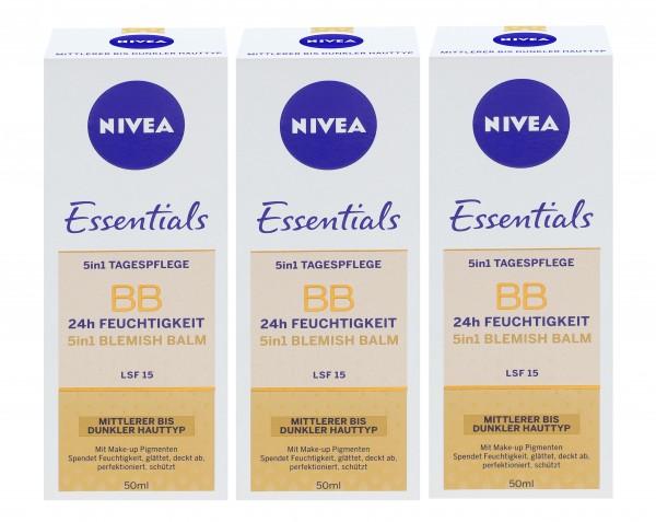 3 x Nivea Essentials BB Cream 5in1 mittlerer bis dunkler Hauttyp je 50ml