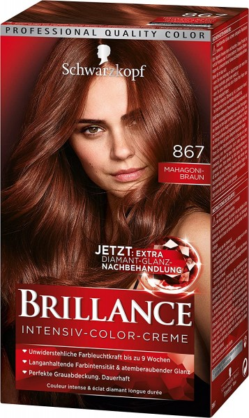 Schwarzkopf Brillance Intensiv-Color-Creme 867 Mahagonibraun 165ml Dauerhafte Haarfarbe