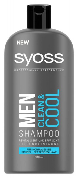2 x SYOSS Shampoo Men Clean & Cool je 500ml Normales bis schnell fettendes Haar