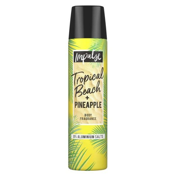 6 x Impulse Deospray Tropical Beach + Pineapple 24h-Frischeschutz je 75ml