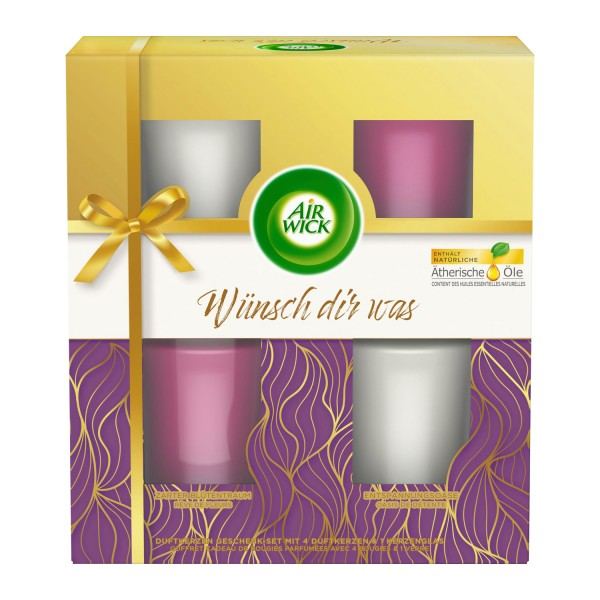Air Wick Kerzen Geschenkset 4 x 51g Zarter Blütentraum & Entspannungsoase