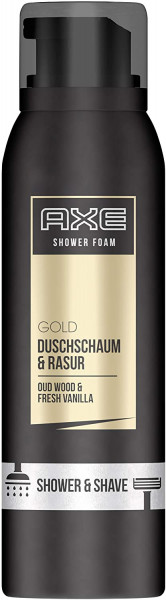 3 x Axe Gold Duschschaum & Rasur Oud Wood & Fresh Vanilla je 200ml