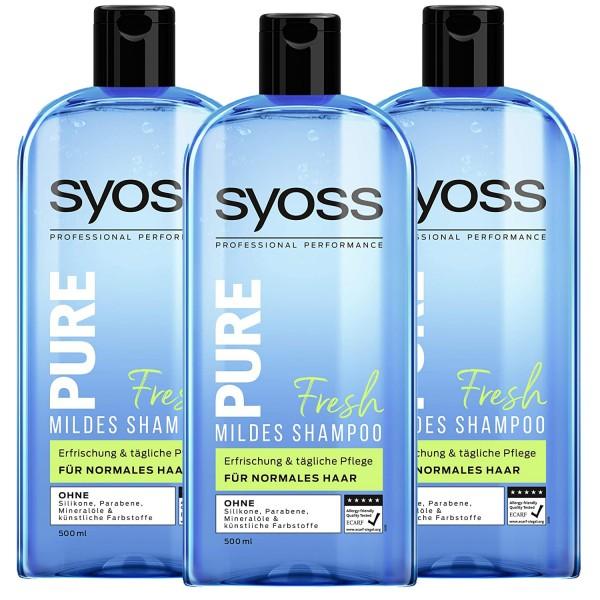 3 x SYOSS Pure Fresh Mildes Shampoo je 500ml für normales Haar