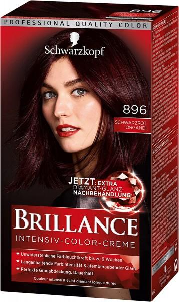 Schwarzkopf Brillance Intensiv-Color-Creme 896 Schwarzrot-Organdi 165ml Dauerhafte Haarfarbe