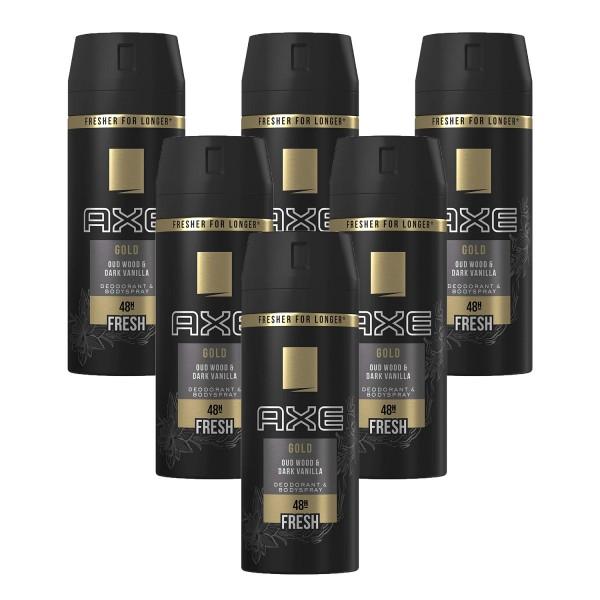 6x Axe Gold Deospray Oud Wood & Dark Vanilla Deodorant je 150ml 48H Frische