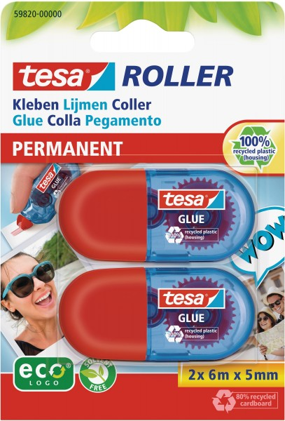 tesa Permanent Mini Kleberoller für Pappe extra stark 2x 6mx5mm Kleber