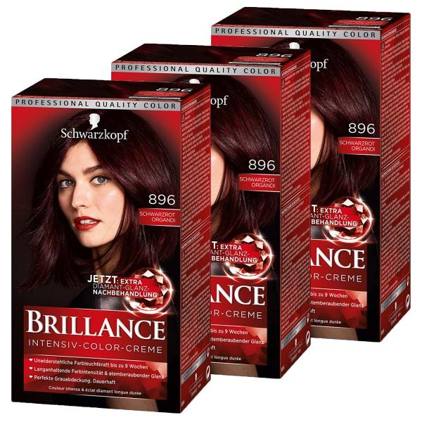 3 x Schwarzkopf Brillance Intensiv-Color-Creme 896 Schwarzrot-Organdi je 165ml Dauerhafte Haarfarbe