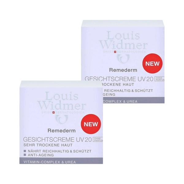2 x Louis Widmer Remederm Gesichtscreme UV 20 sehr trockene haut je 50ml Parfümfrei