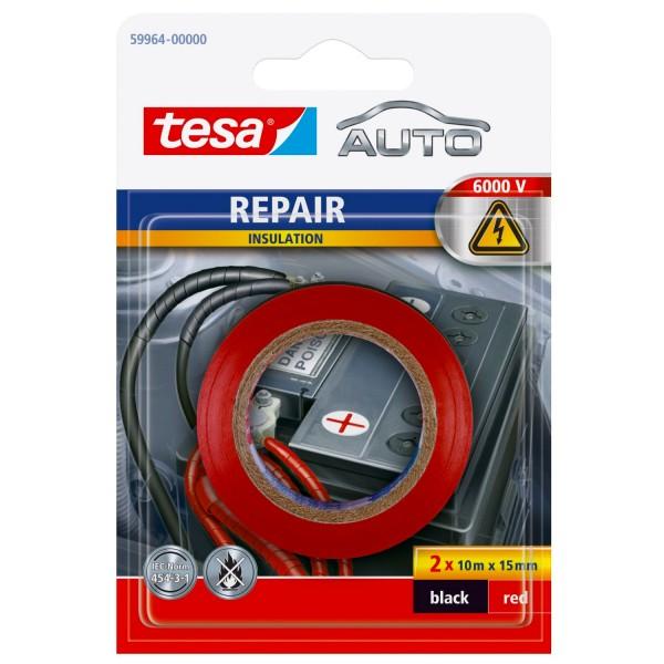 tesa Auto Repair Isolierband rot/schwarz 6000 V, 2x 10mx15mm