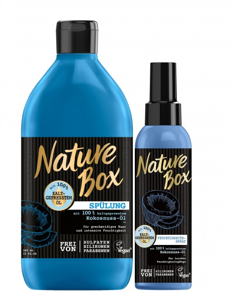 Nature Box Haar Spülung 385 ml & Feuchtigkeitsspray 150 ml Mit Kokosnuss-Öl