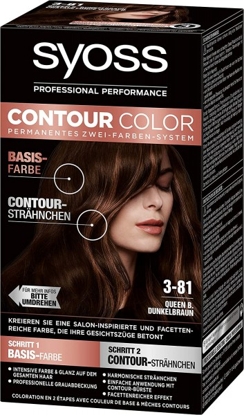 3 x Syoss Contour Color 3-81 Queen B.Dunkelbraun Zwei-Farben-System
